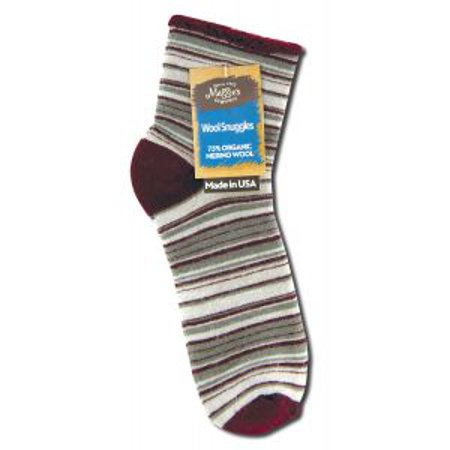 - maggies functional organics 232575 wool wine stripe snuggle socks 10 - 13