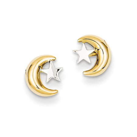 14kt Yellow Gold and Rhodium Polished Moon and Star Post Earrings