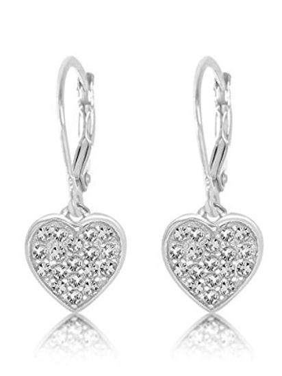 Children's Earrings - 925 Sterling Silver with a White Gold Tone Clear Crystal Heart Leverback Children's Earrings Made with Swarovski Elements Kids, Children, Girls, Baby