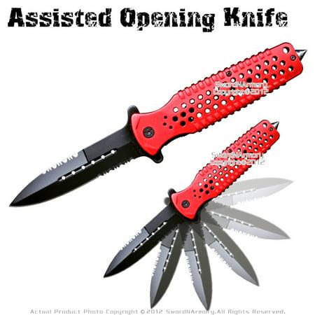 Red Serrated Spring Assisted Open Folding Knife Pocket Folder Surgical Steel
