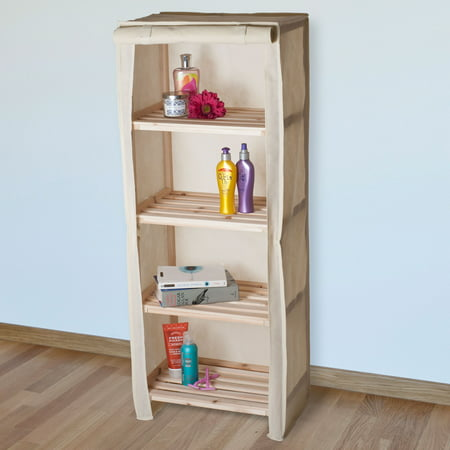 Wood Shelving Rack Four Tier Storage Cabinet - by Lavish Home