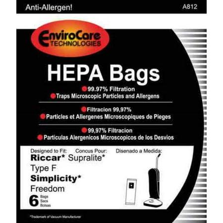 6 Riccar Allergen Vacuum Bags-Type F, Simplicity, Part A812, Qty-1PK