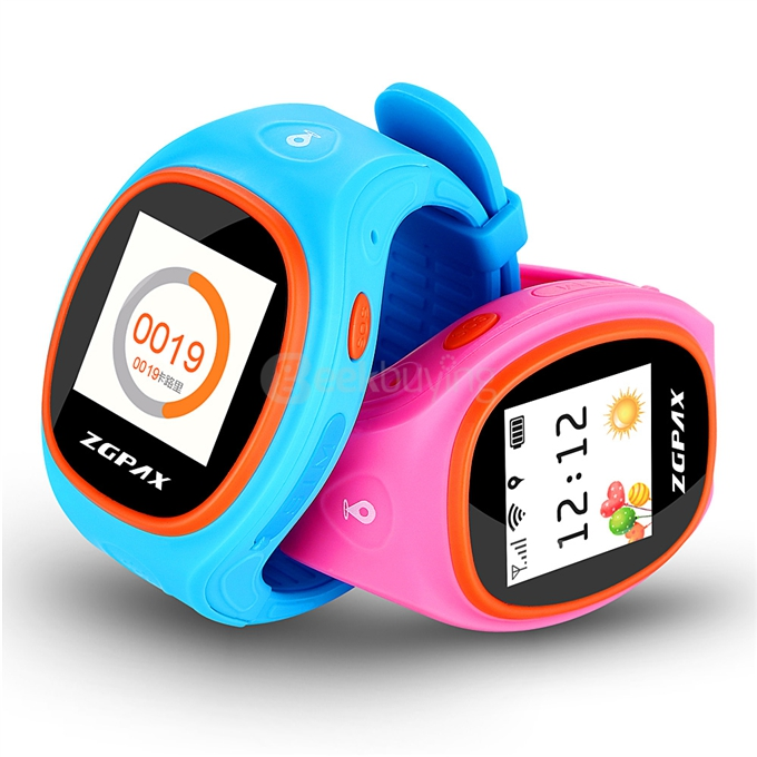 Zgpax Kids GPS Smartwatch Tracking Bracelet LBS Locating Safe Children Phone Watch SOS Call for Girls Boys Gift 2Packs (Blue & Pink)