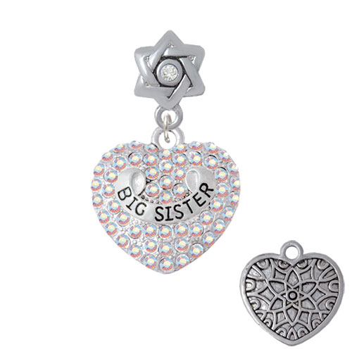 Big Sister Rock on AB Crystal Heart - Star of David with Clear Crystal Charm Bead