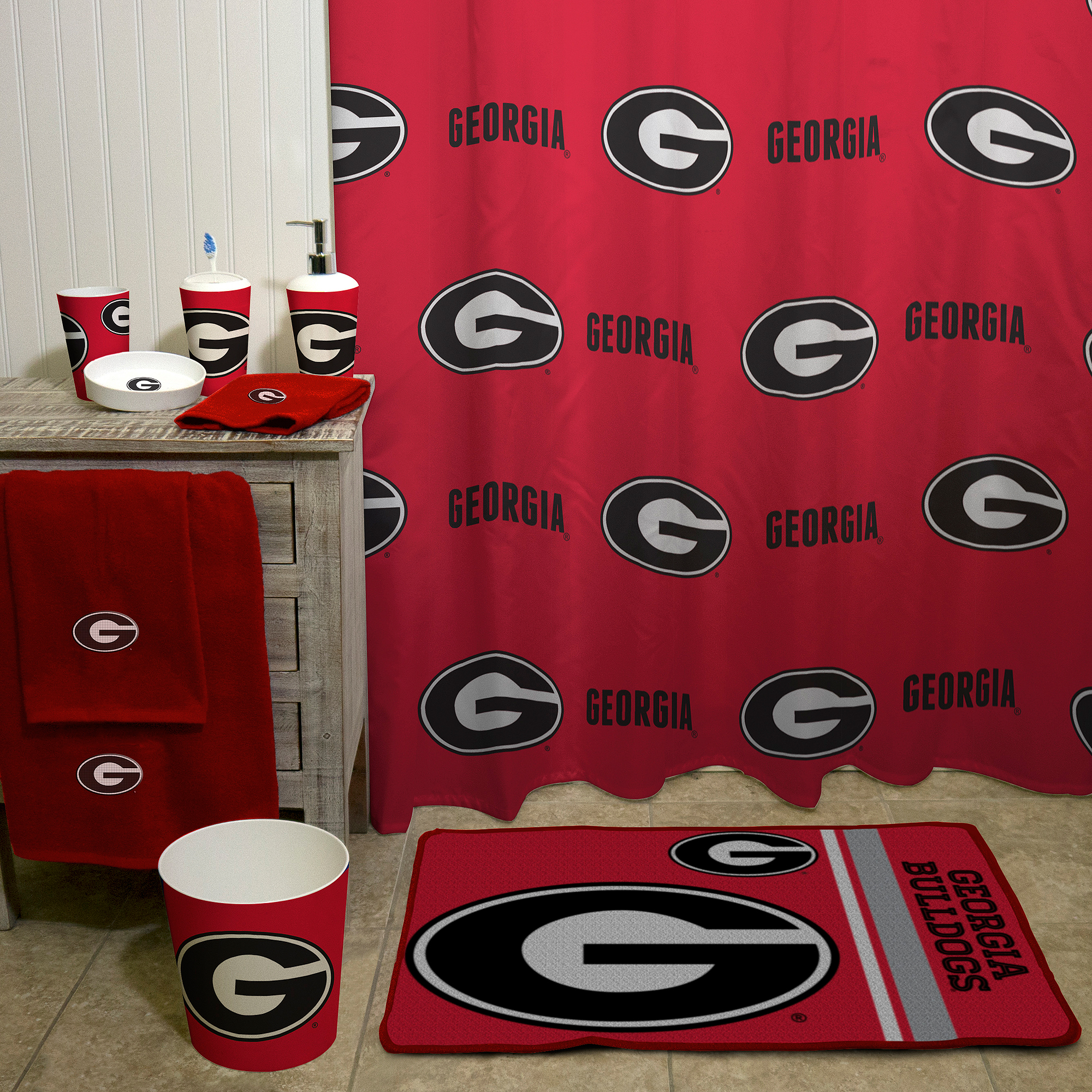 Ncaa University Of Georgia Decorative Bath Collection Shower Curtain Com