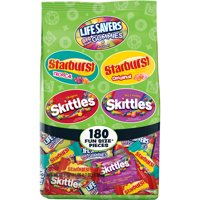 SKITTLES, STARBURST, LIVE SAVERS Fruity Variety Mix Halloween Candy Bag | 68.7 oz. | 180 Pieces