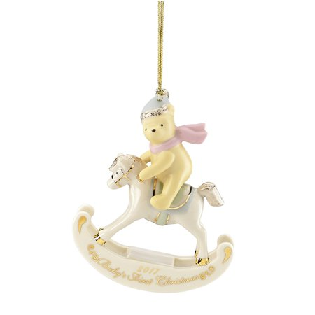 Babyprints Ornament - 2017 Lenox Winnie the Pooh Babys First Christmas Rocking Horse Ornament 869909