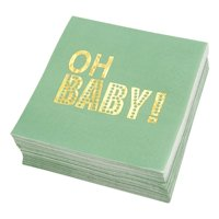 50-Pack Baby Shower Cocktail Napkins, 3-ply Oh Baby Disposable Paper Beverage Napkins for Baby Shower, Gender Reveal Party Supplies and Decorations, 5 inches Folded, Mint Green & Gold Foil