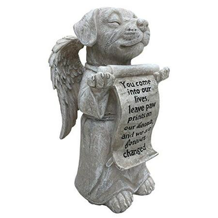 Dog Angel Memorial Marker - Devotion Remembrance Stone (Stone) Memorial Stone Marker