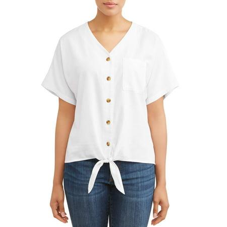 Women's Short Sleeve Linen Button Down Tie Blouse