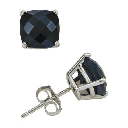 - 8mm Cushion Cut Onyx Stud Earrings in 14K White Gold