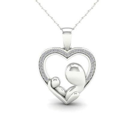 1/20ct TDW Diamond 10K White Gold Mother and Child Pendant Necklace