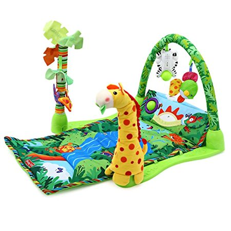 3 in 1 Rainforest Musical Lullaby Baby Activity Playmat Toddle  Infant Gym Toy Gift Soft Play Mat