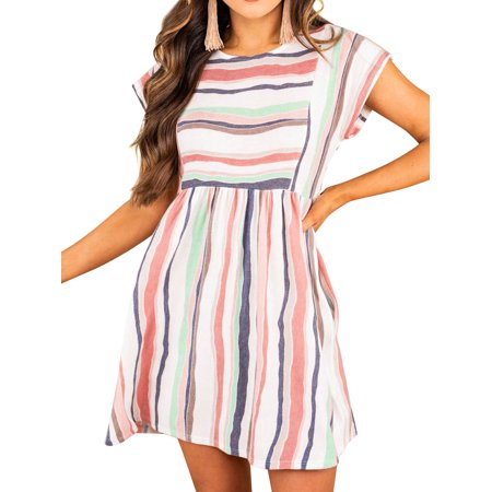 Nlife Women Stripes Colorblock Pockets Round Neck Short Sleeve Mini Dress