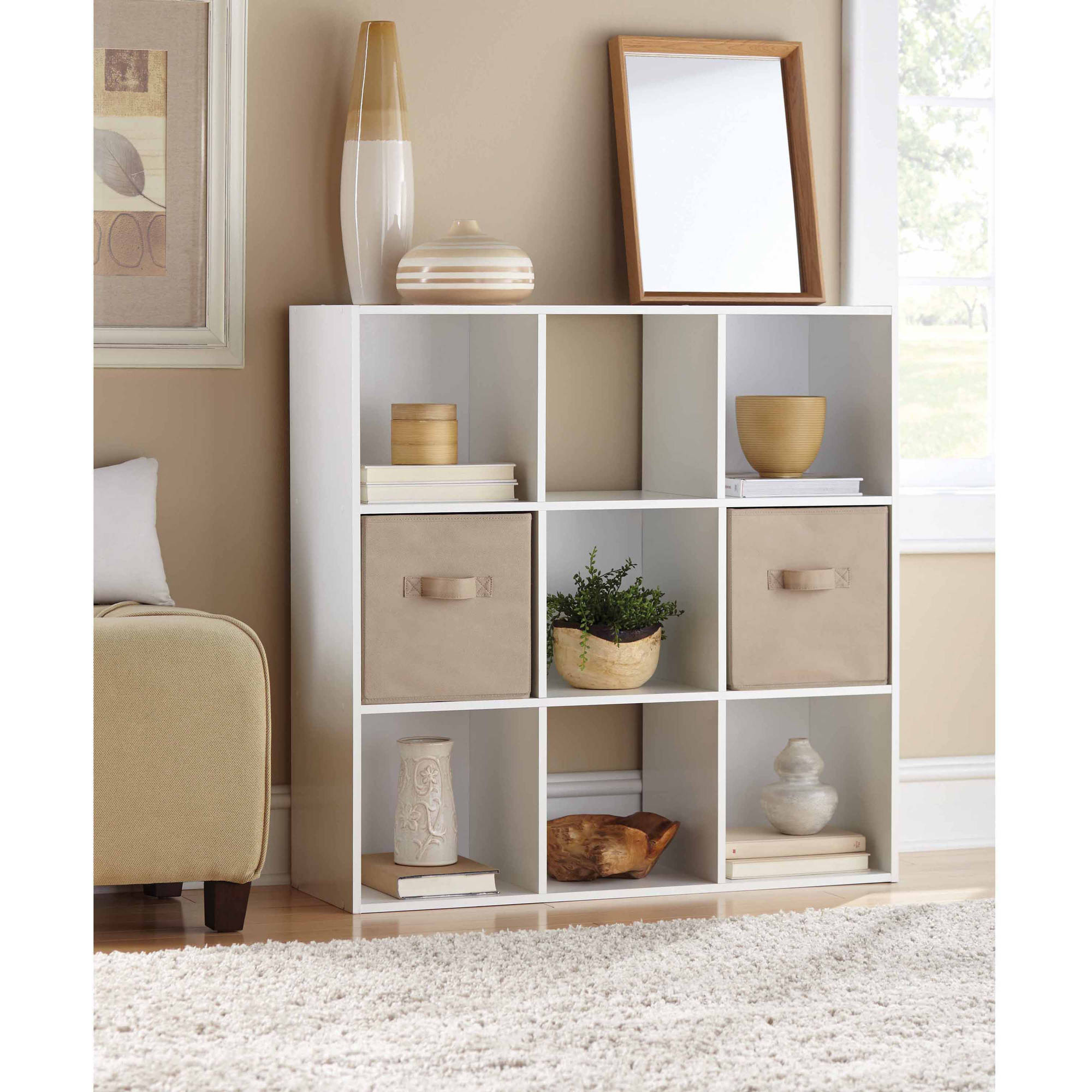 Mainstays 9 Cube Storage Organizer, Multiple Colors