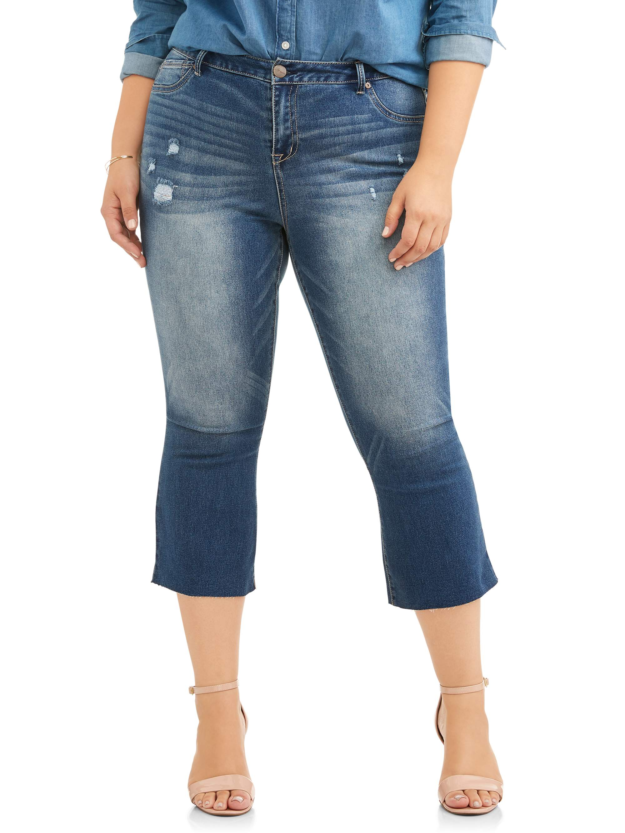 A3 Denim Women's Plus Raw Hem Kick Flare