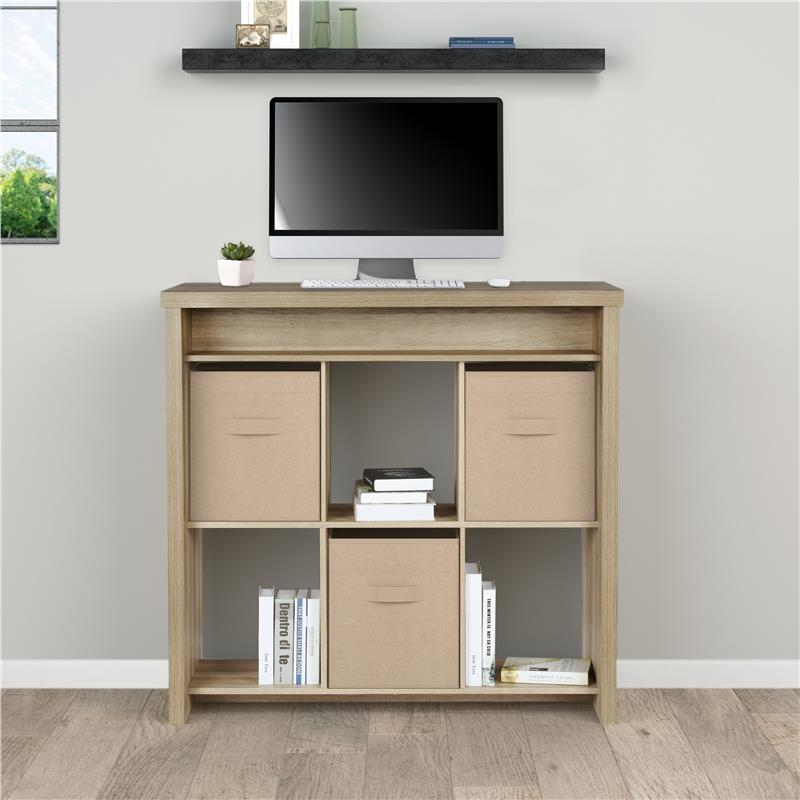 Better Homes And Gardens Rudd Standing Desk With Cube Storage Brown Oak