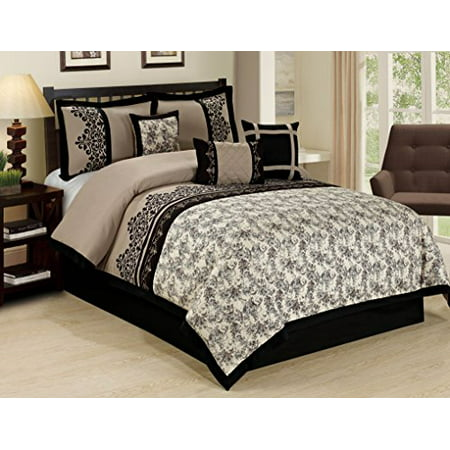 Unique Home 7 Piece Lupe Jacquard Floral Clearance Bedding Comforter Set Fade Resistant Wrinkle