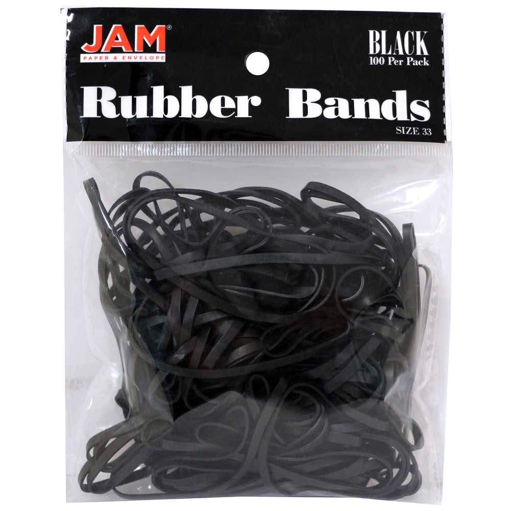 JAM Paper Rubber Bands, #33 Size, Black Rubberbands, 100/pack