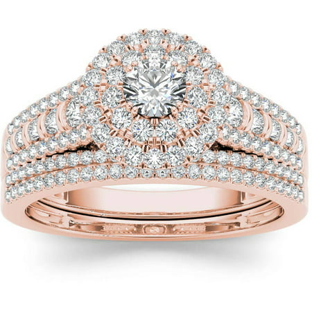 Imperial 1 Carat T.W. Diamond Double Halo 10kt Rose Gold Engagement Ring (Double Rose Rings)