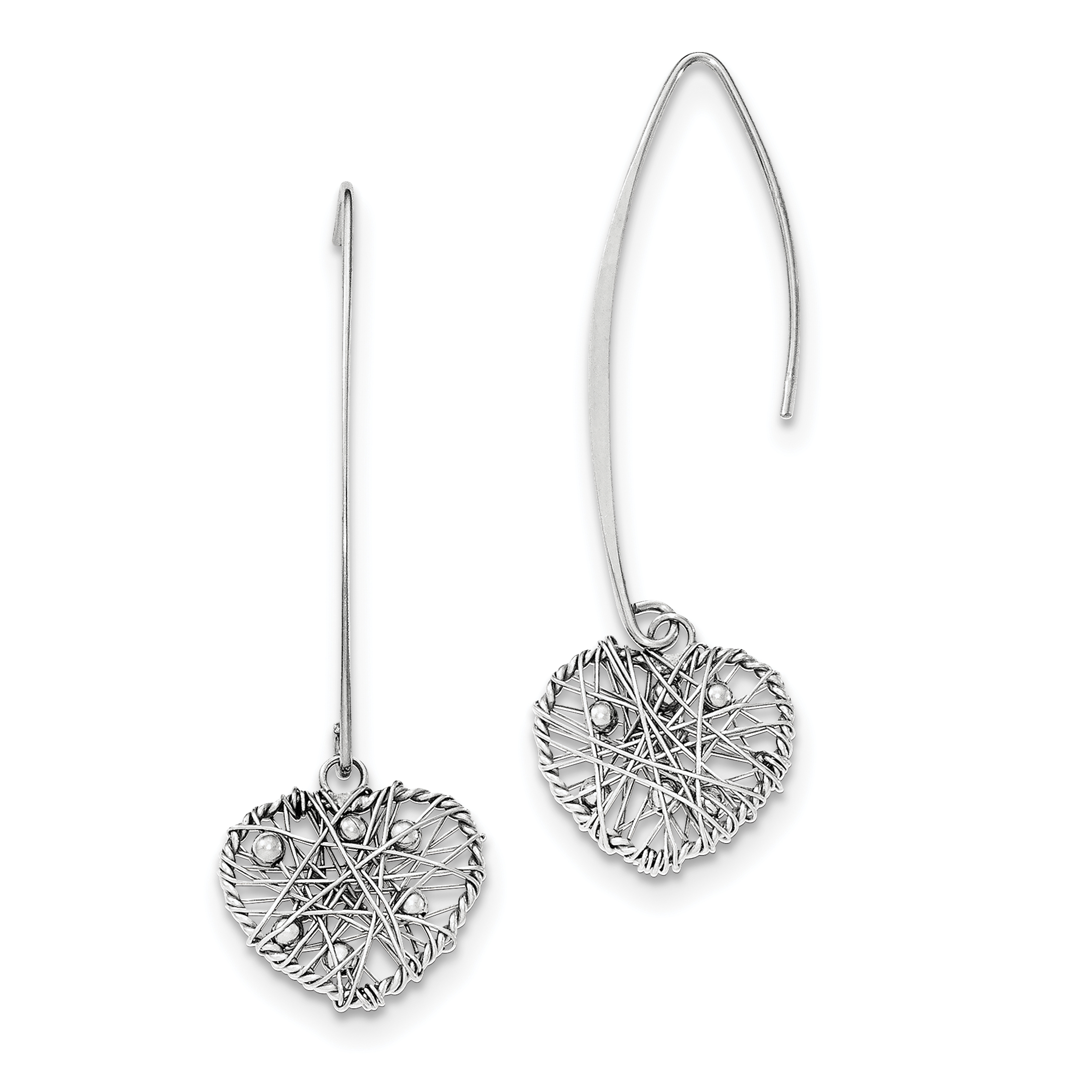 Sterling Silver Rhodium-plated Polished Heart Threader Earrings QE11771 - image 2 of 2