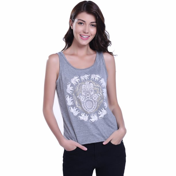 Miss Moly Women's Round Neck Vest Sleeveless Knit T-shirt Floral Printed Casual Summer Tank Gray