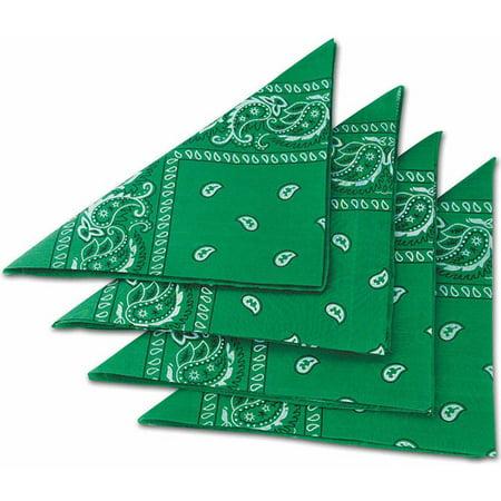Green Bandanas, Pack of 12 - Green Bandanna
