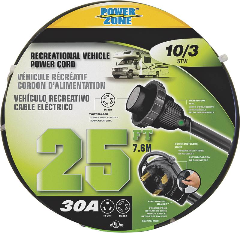 CORD PWR RV 30A-30ATWSTLK 25FT