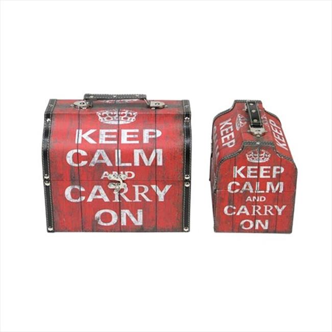 NorthLight 10 & 11. 5 inch Keep Calm And Carry On Decorative Storage Boxes, Set Of 2