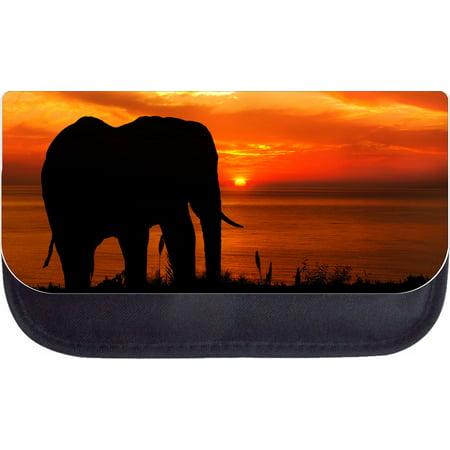 Elephant Sunset Silhouette Black Pencil Bag - Pencil Case