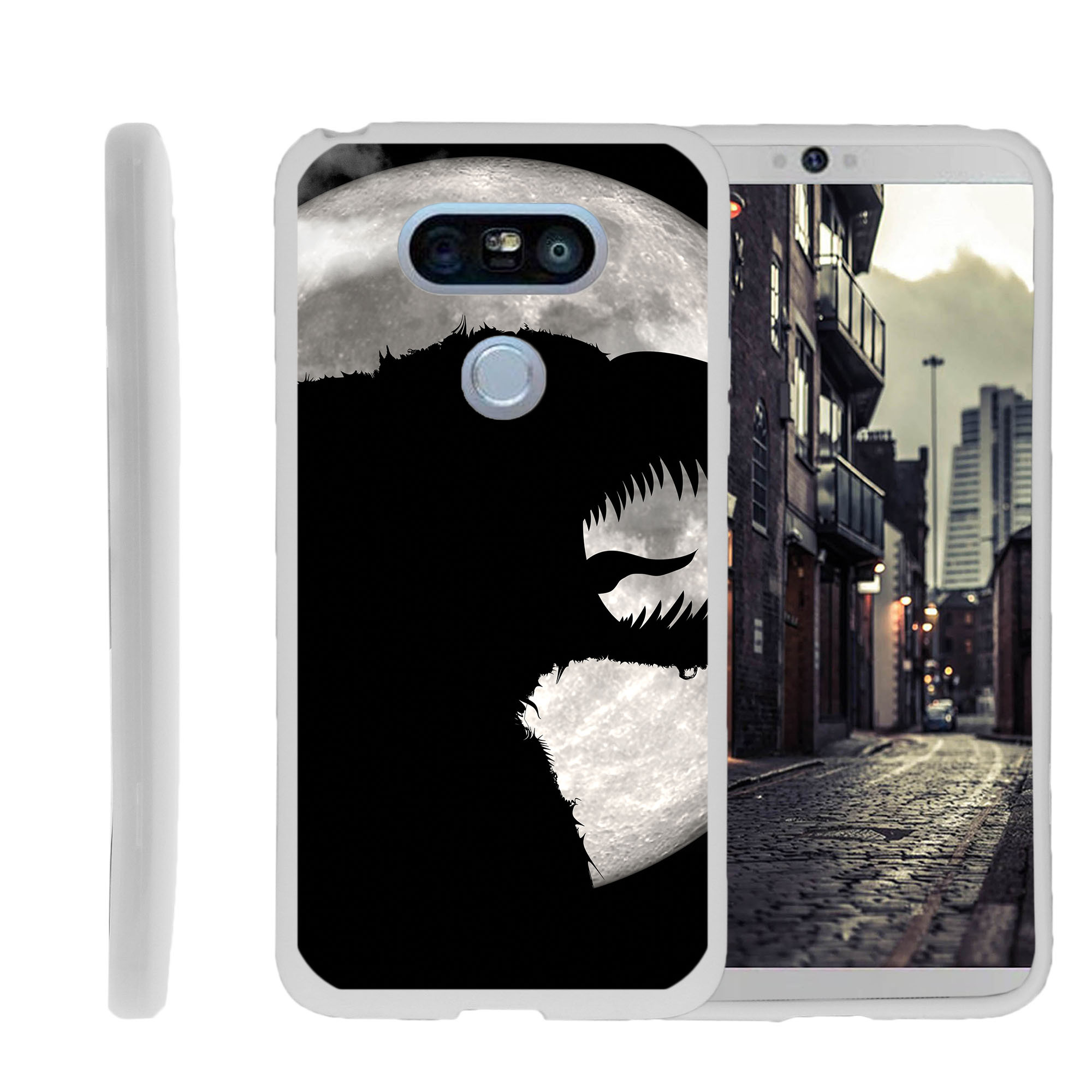 LG G5, H850, H830, H820, US992, G5 SE H845, Flexible Case [FLEX FORCE] Slim Durable TPU Sleek Bumper with Unique Designs - Scary Dark Monster