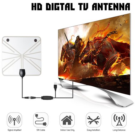 USB 50-100 Miles Range HD Indoor Digital TV Antenna Signal Booster 1080P Amplified Hdtv Television Antenna With 10ft Long Cable For the Highest Performance And Better - Usb Signal Booster