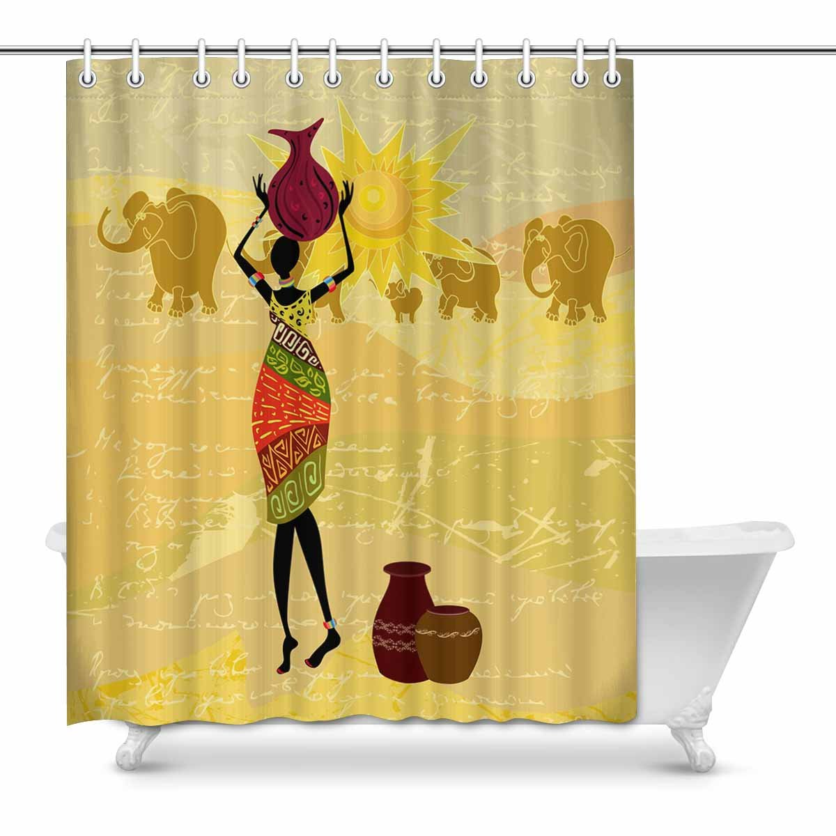 60x72 Waterproof Custom African Woman Bathroom Polyester Fabric Shower Curtain