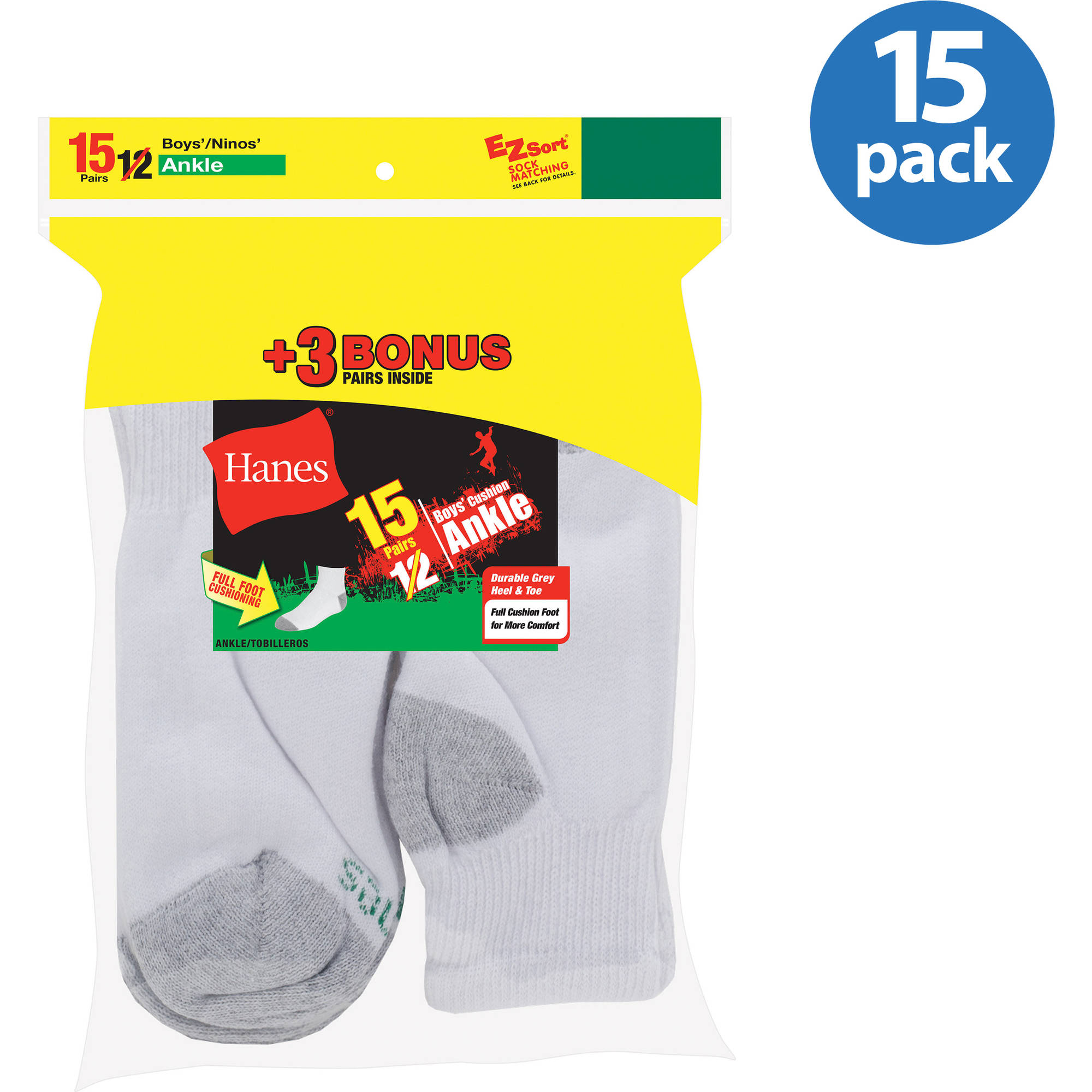 Hanes Boys' Cushion Ankle Socks, 12 + 3 Bonus Pack