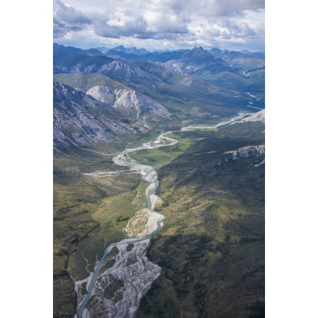 Brooks Range Alaska (Aerial View of the Brooks Range in summer ANWR Alaska Stretched Canvas - Cathy Hart  Design Pics (12 x)