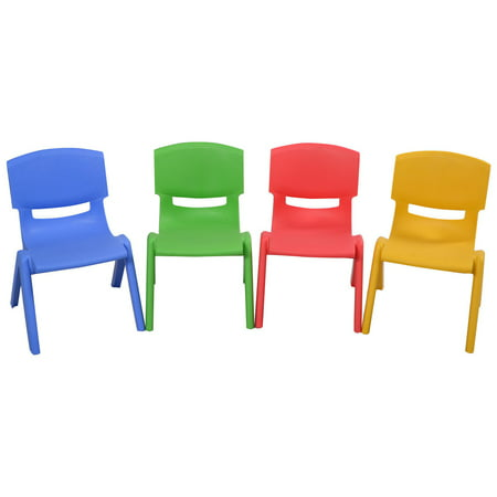 Costway Set of 4 Kids Plastic Chairs Stackable Play and Learn Furniture Colorful ()