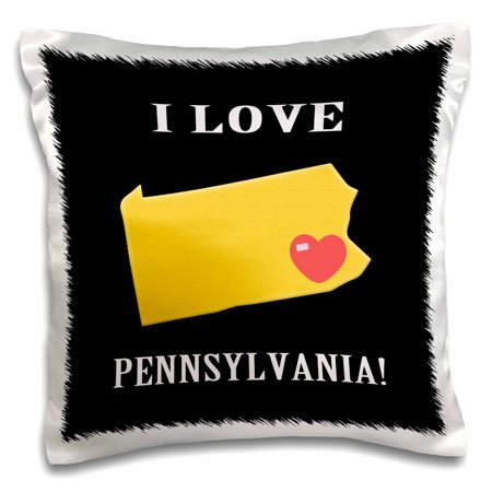 3dRose I Love Pennsylvania with Heart on State, Yellow, Red, Black, and White - Pillow Case, 16 by - Black And White Hearts
