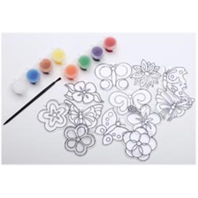 New Image Group 366679 Suncatcher Group Activity Kit-Butterfly & Flowers 12-Pkg