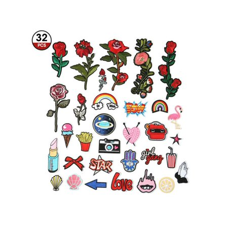 - Prohouse Artistore Iron On Patches 31pcs Assorted Size Rose Cartoon Embroidered Motif Applique Decoration Patches DIY Sew on Patch for Jeans Clothing Denim