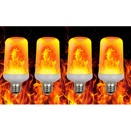 Elegantoss Pack of 4 LED Fire Flame Effect Light Bulb Realistic Flickering Burning Flame for Christmas, Home and Garden ()