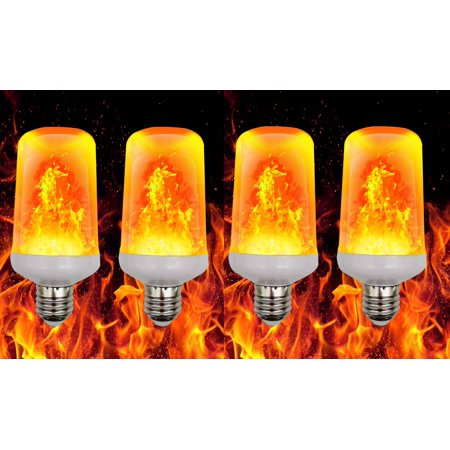 Elegantoss Pack of 4 LED Fire Flame Effect Light Bulb Realistic Flickering Burning Flame for Christmas, Home and - Halloween Flickering Light Bulbs