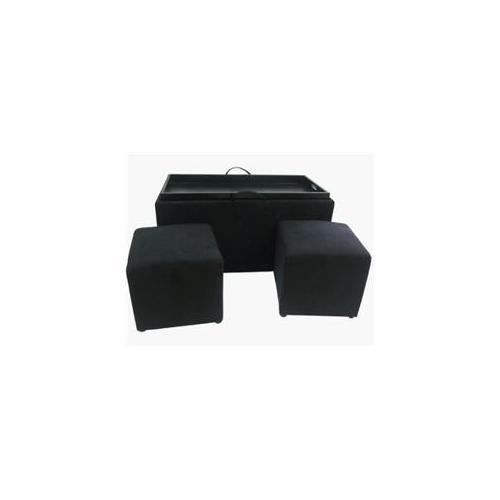 Designs 4 Comfort 3-Piece Black Micro Fiber Ottoman Set