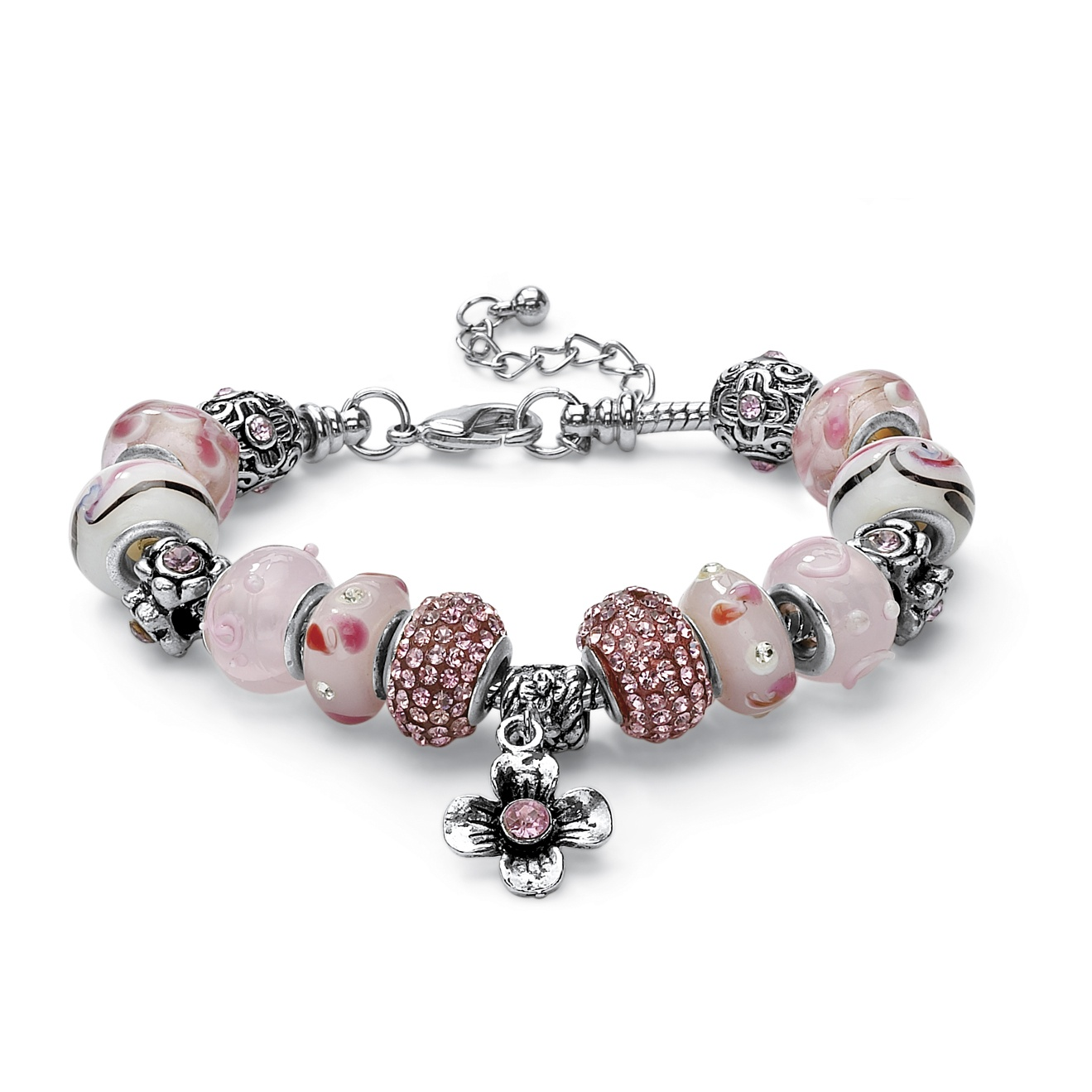 Round Pink Crystal Silvertone Bali-Style Beaded Charm and Spacer Bracelet 8""
