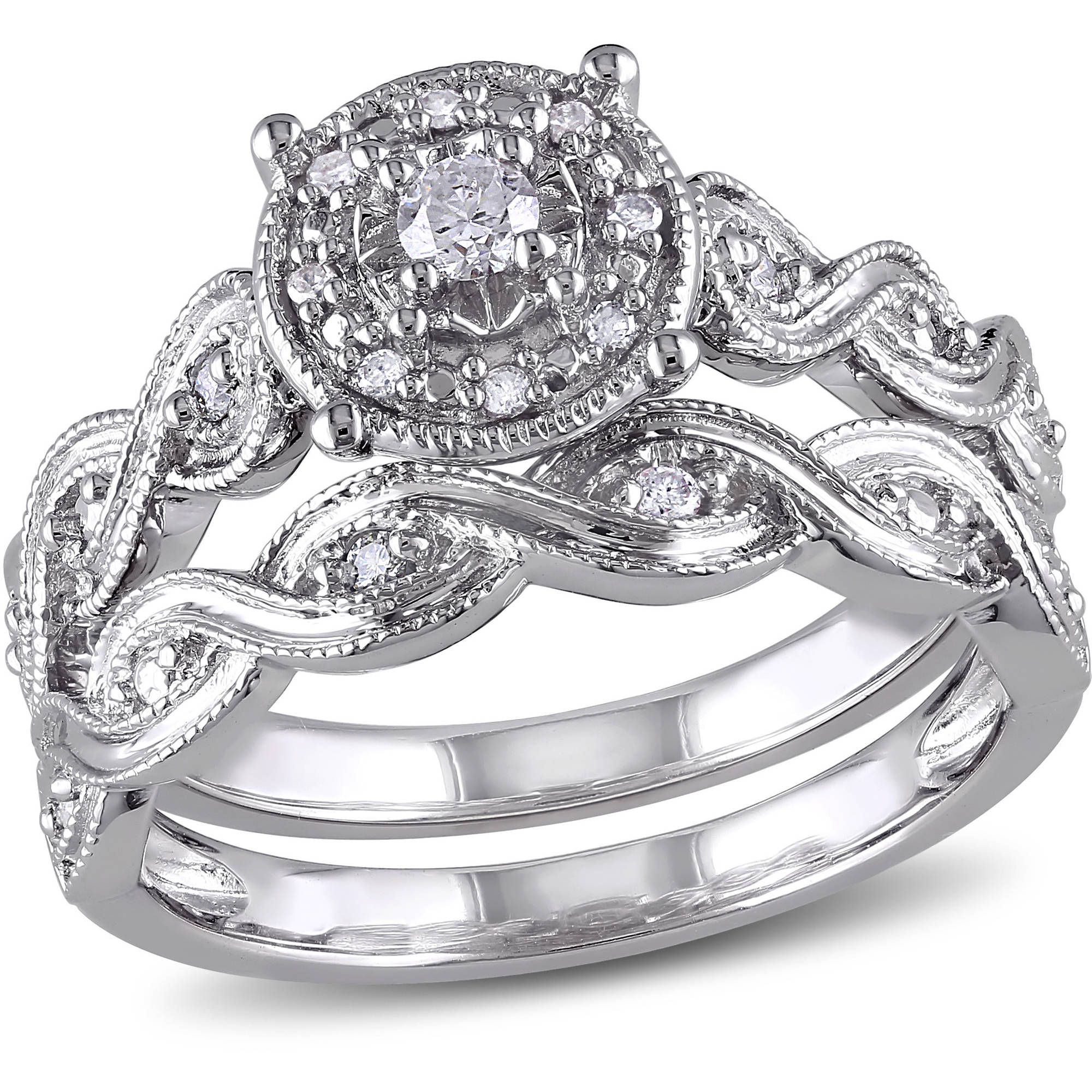 Miabella 1/5 Carat T.W. Diamond Sterling Silver Halo Infinity Bridal Set