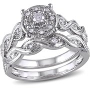1/5 Carat T.W. Diamond Sterling Silver Halo Infinity Bridal Set