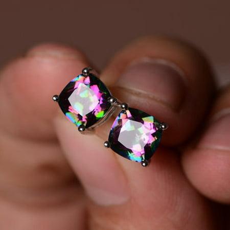 Rainbow Mystic Topaz Heart - Outtop Women's Silver Earring Princess Cut Mystic Rainbow Engagement Diamond Jewelry
