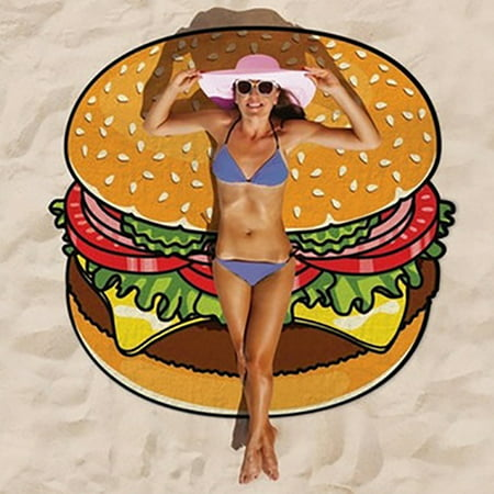 Round 3D Cute Food Pattern Printed Beach Towel Multi-Purpose Chiffon Towel Sunscreen Shawl Scarf