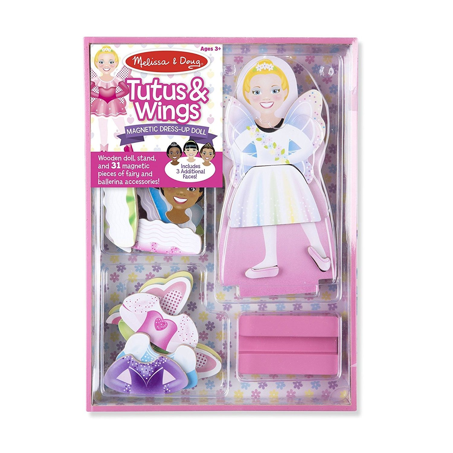 Melissa & Doug Tutus and Wings Ballerina/Fairy Magnetic Dress-Up Wooden Doll Pretend Play Set (31 pcs)