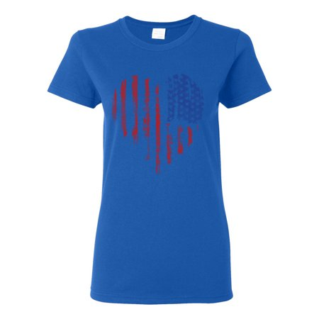 Custom Apparel R Us - Distressed American Flag Heart USA Patriotic Clothing  Womens Top T-Shirt - Walmart.com 2917be473f
