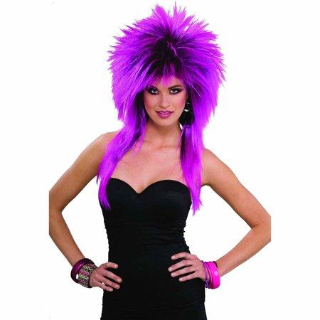 Purple Wig Halloween Costume (80's Purple Pizazz Wig Adult Halloween Costume)